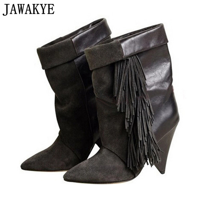2018 Real leather black grey pointed toe ankle boots for women 8 cm high heel fringe