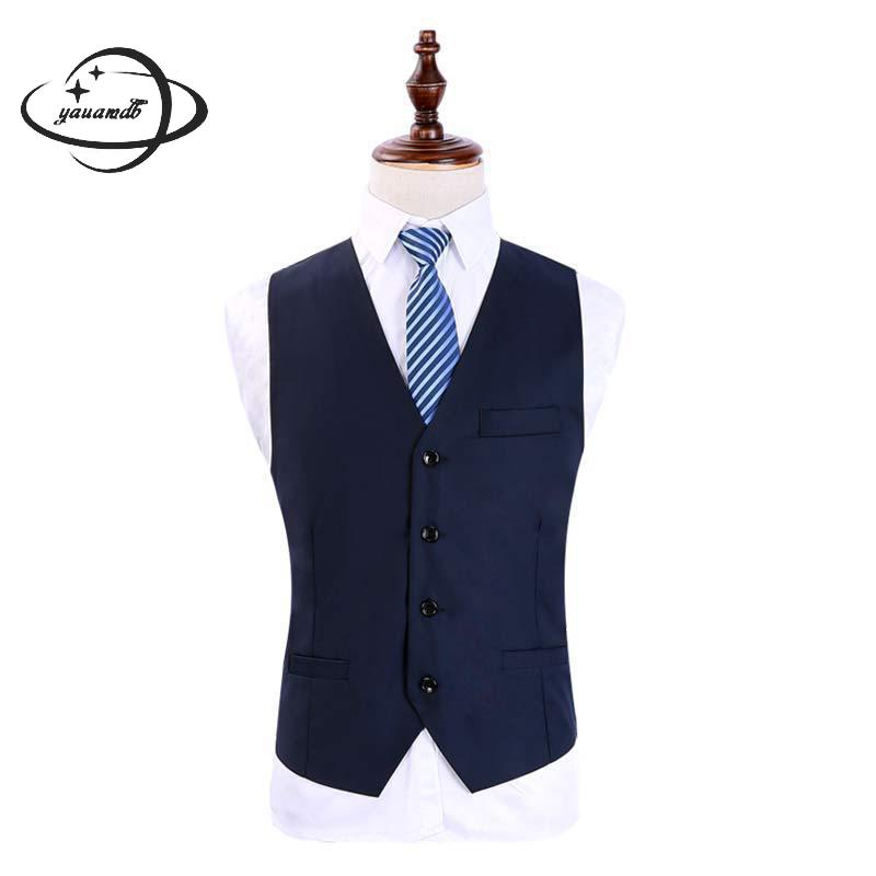 mens suits vests spring autumn male blazer Waistcoats clothing single breasted V-neck solid color slim man top clothes Y33(China)