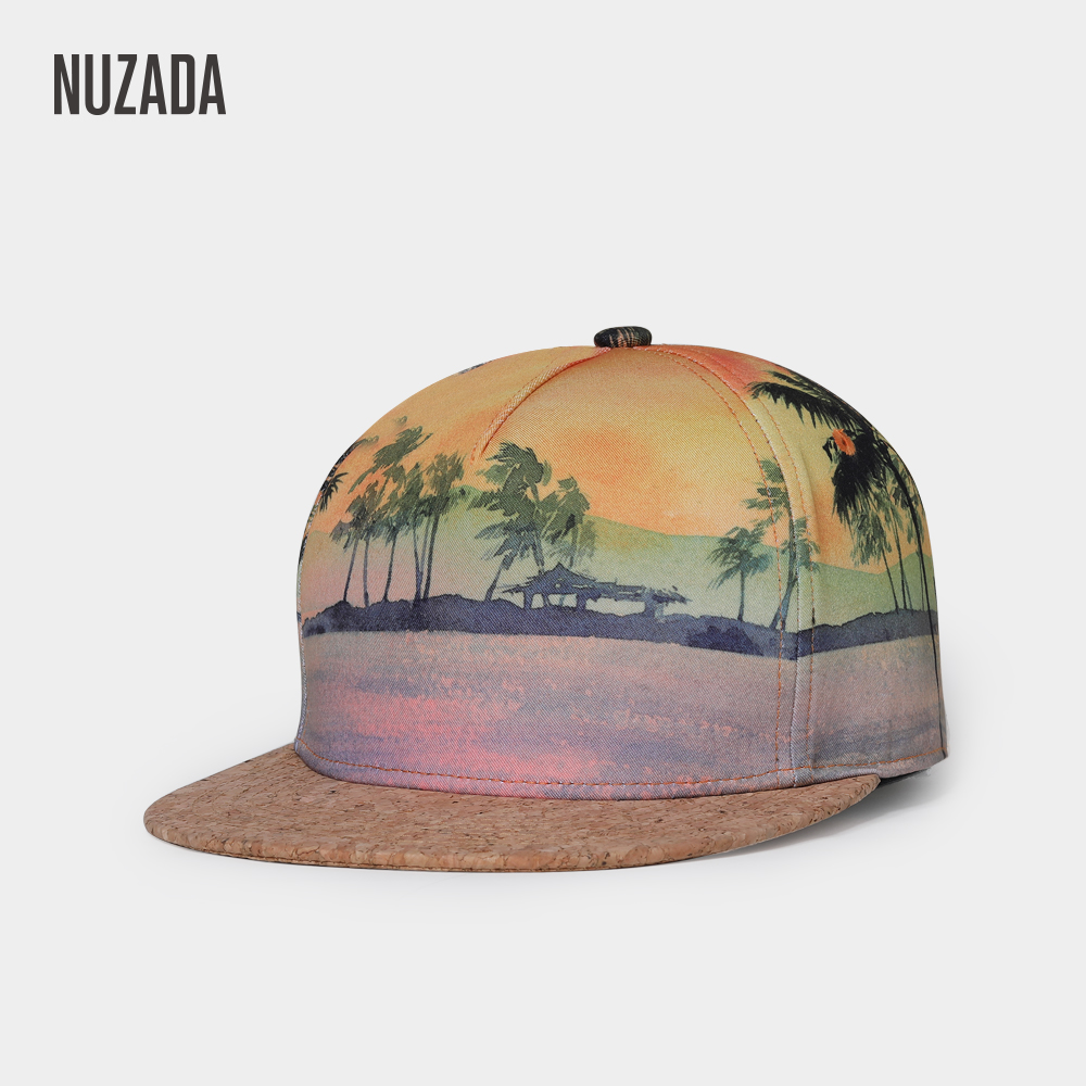NUZADA Hat Spring Summer   Baseball     Cap   For Men Women Couple Bone Cork Material 3D Printed Beach Snapback Personality   Caps