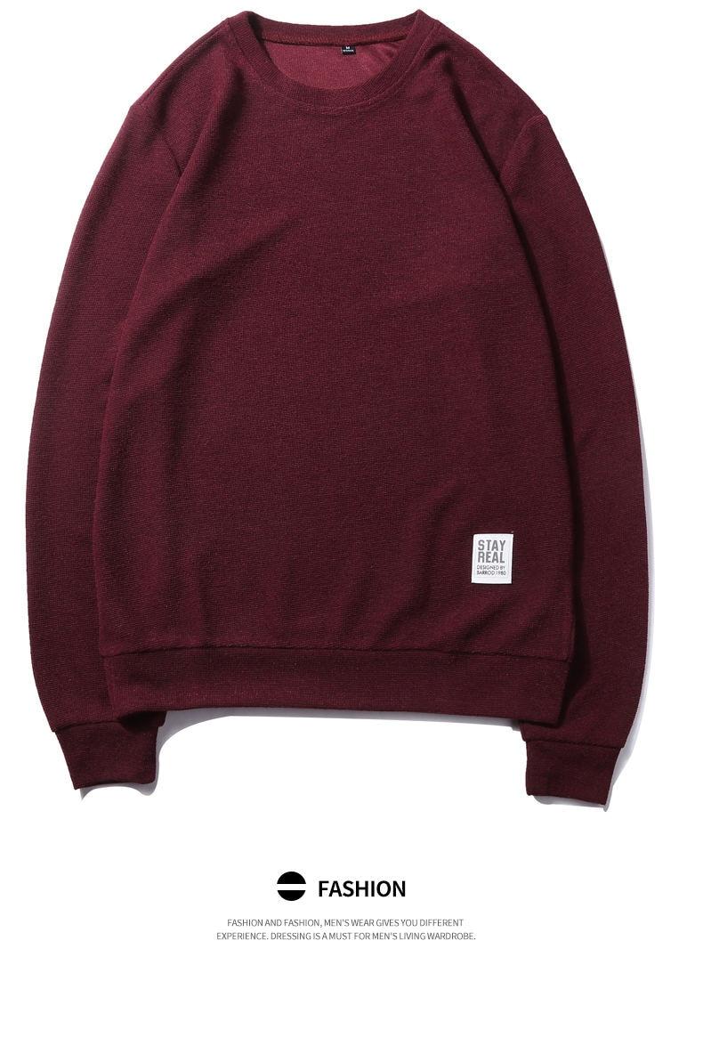 7Colors Autumn Casual Men Sweatshirts Solid Hoody Top Basic O Neck Sport Hoodies Male Spring Crewneck Streetwear Brand Clothing 08