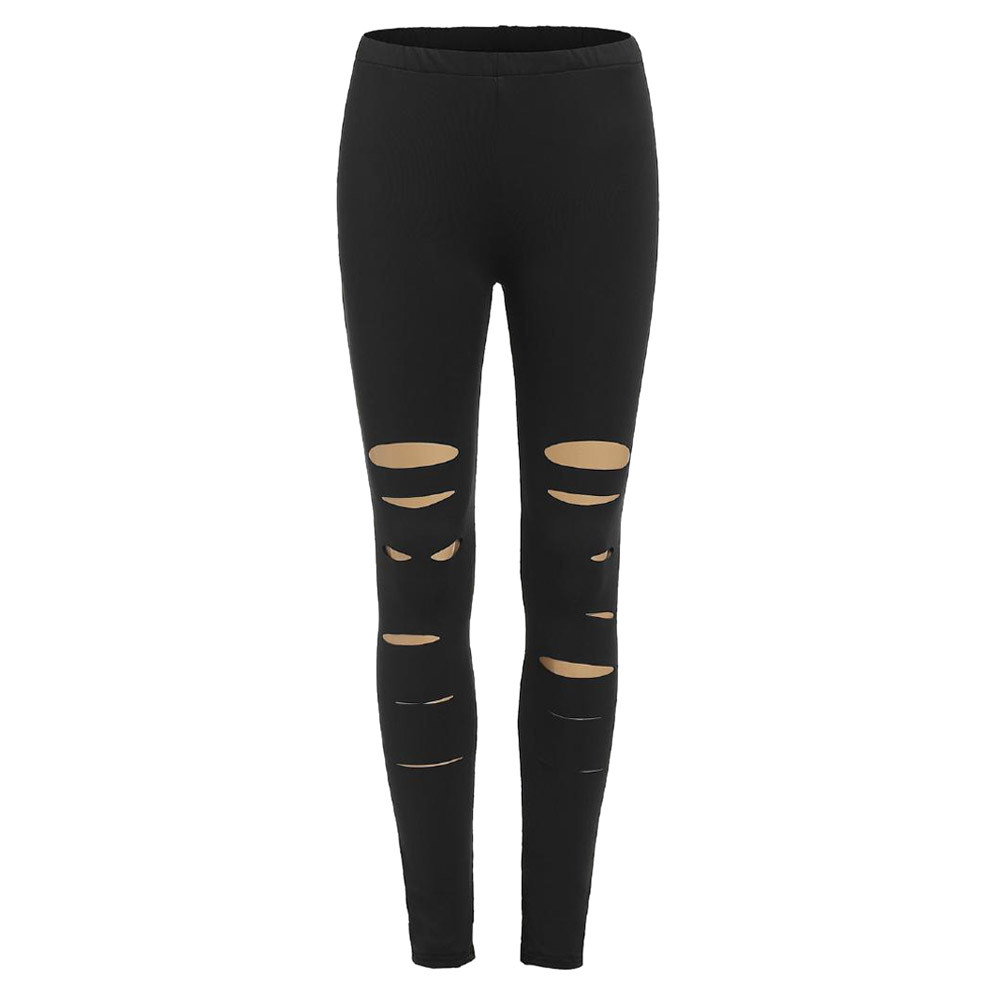 Women   Leggings   Fashion Solid Pure With Holes High Waist Pencil Pants Fitness Sporting Sweatpants Activewear Leggins Femme Black