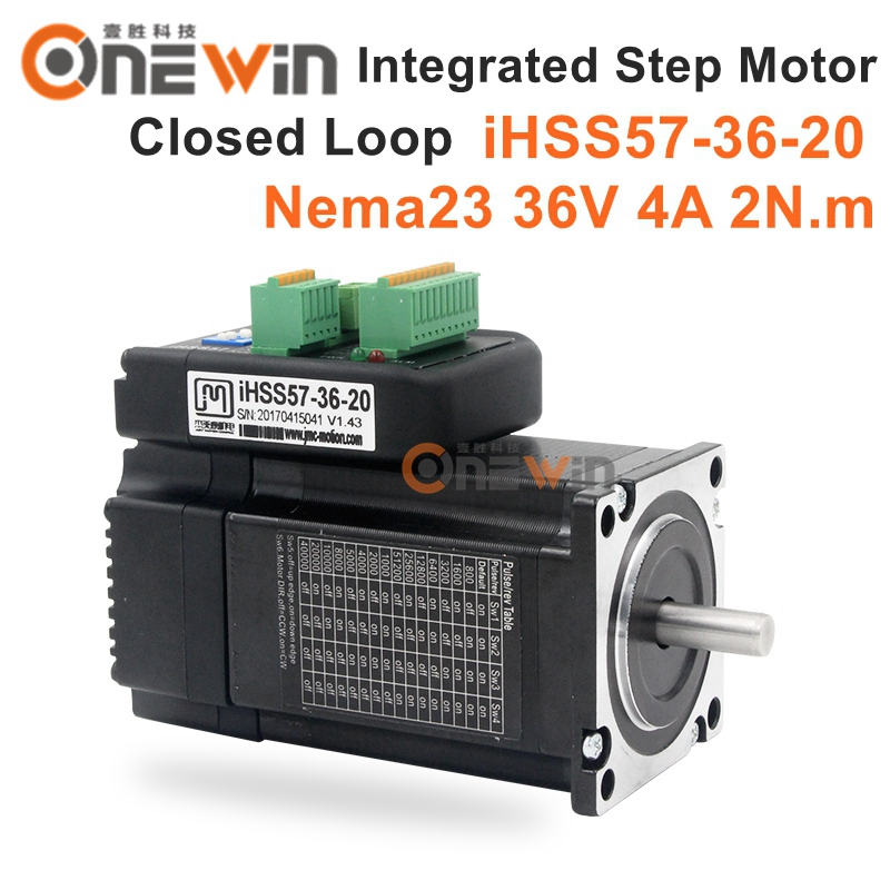 JMC NEMA23 Integrated Closed Loop Stepper Motor 36V 6A 2Nm 283oz.in iHSS57-36-20 nema23 2nm 283oz in integrated closed loop stepper motor with driver 36vdc jmc ihss57 36 20