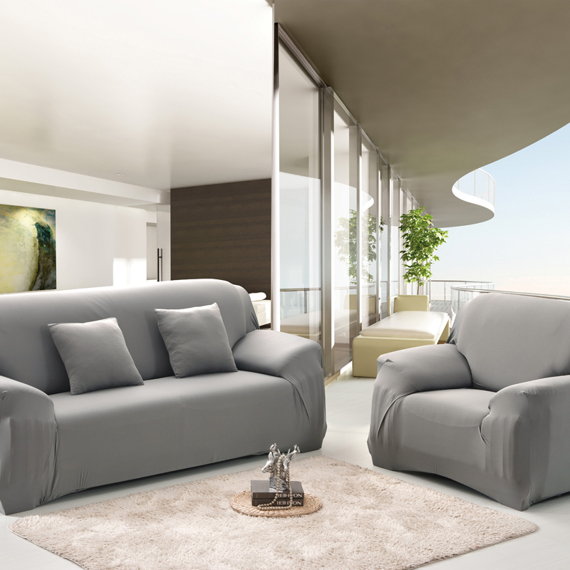 light grey sofa covers charcoal what colour walls 4 size 5 color spandex stretch cover elasticity polyester solid colors couch loveseat furniture t0 2 in from home