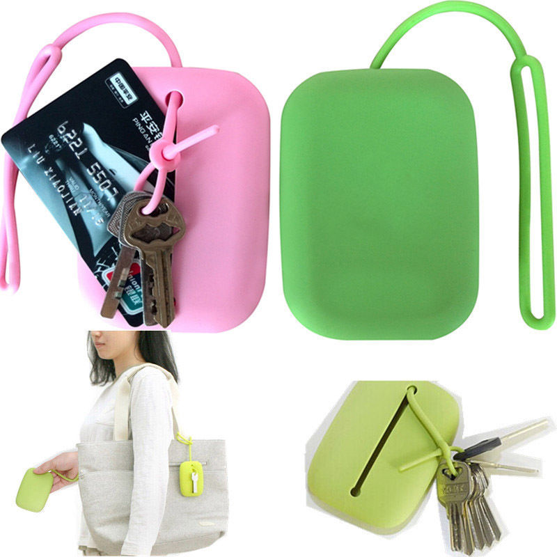 Multifunctional Women Key Chain Hasp Style Silicone Pouch Card Bag Perfect Gift Key Holder Key Ring For Shopping Color Random