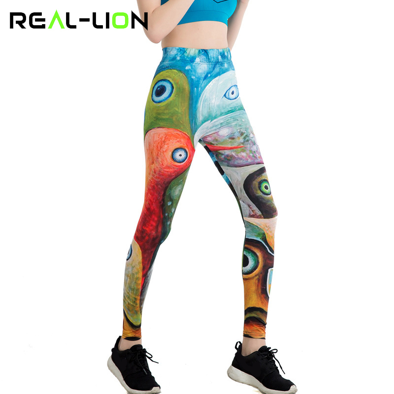b58f2196f708b RealLion Peacock Eyes Pants Ankle Length Gym Leggings Colorful Women Yoga  Clothes Running Tights Sport Trousers Elastic-in Yoga Pants from Sports ...