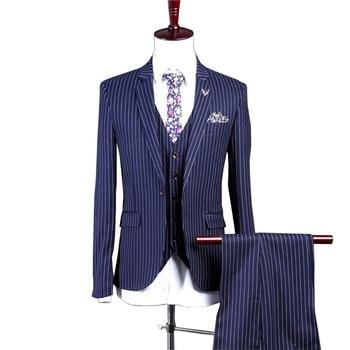 Mens Suit 3 Piece White Wedding Pinstripe Men Peaked Lapel Slim Fit Blazer Business Suits Set