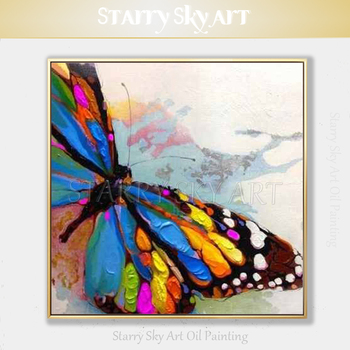 Free Shipping Artist Hand-painted Big Butterfly Oil Painting on Canvas Small Insect Butterfly Oil Painting for Wall Decoration фото