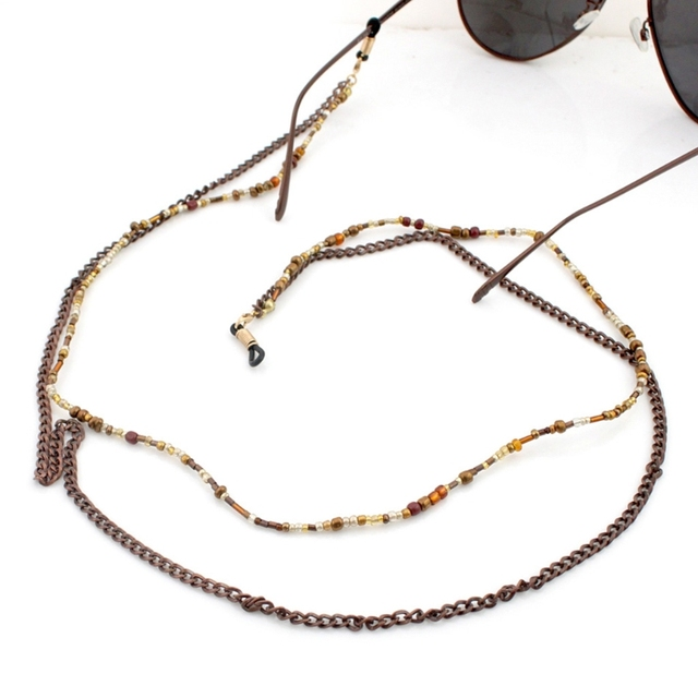 2f7f0c44e39c 70cm Chic Reading Glasses Chain Beads Sunglasses Holder Fashion Neck Strap  Metal Rope Eyewear Accessories Lanyards New