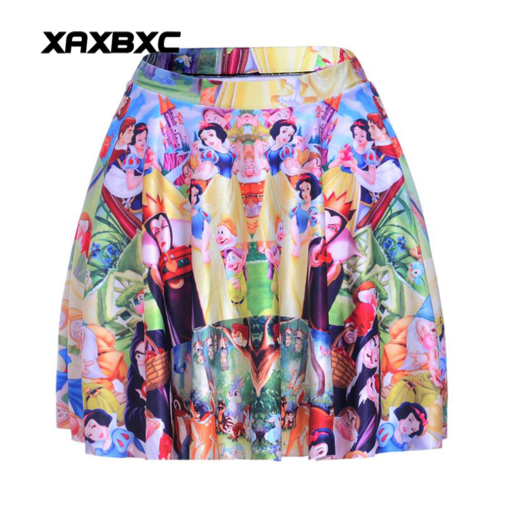 NEW 1152 Summer Sexy Girl Cartoon Snow White Queen witch Printed Cheering Squad Tutu Skater Women Mini Pleated Skirt Plus Size
