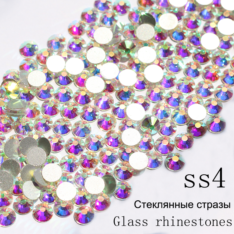 SS4 1440pcs/pack Crystal AB Non Hotfix Nail Art Rhinestones With Round Flatback For Nail Art Dancing Dress And Phone Case ss3 ss30 jet black ab nail art rhinestones with round flatback for nails art cell phone and wedding decorations