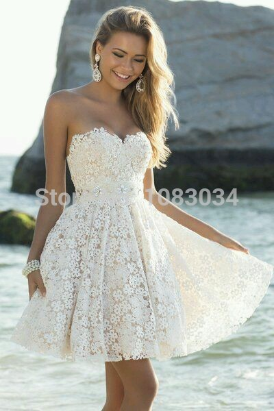 Cute A Line Sweetheart White Bridal Short Dress 2017 Vintage Lace Beach Wedding With