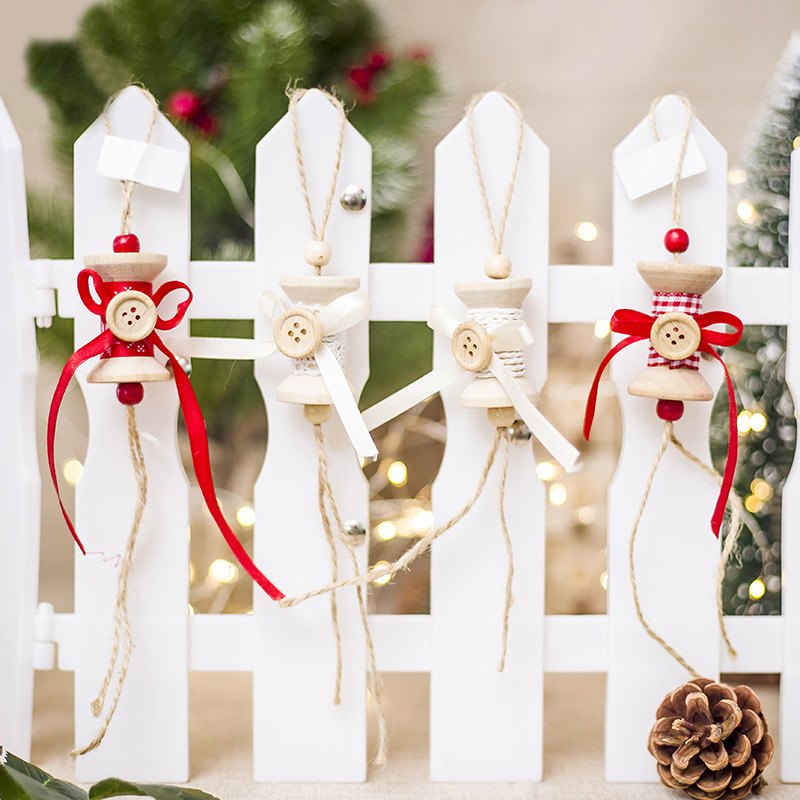 2019 1 Pc Wooden Christmas Ornaments Button With Bow Knot Shaped  Xmas Tree Decorations Hanging Pendants Ornaments