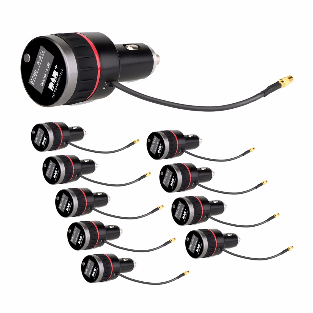 10Pcs DAB+ Radio Tuner Digital Broadcasting Receiver FM Transmitter & USB Charger Car Radio Scanned Channel Automatically Y4422A niorfnio portable 0 6w fm transmitter mp3 broadcast radio transmitter for car meeting tour guide y4409b