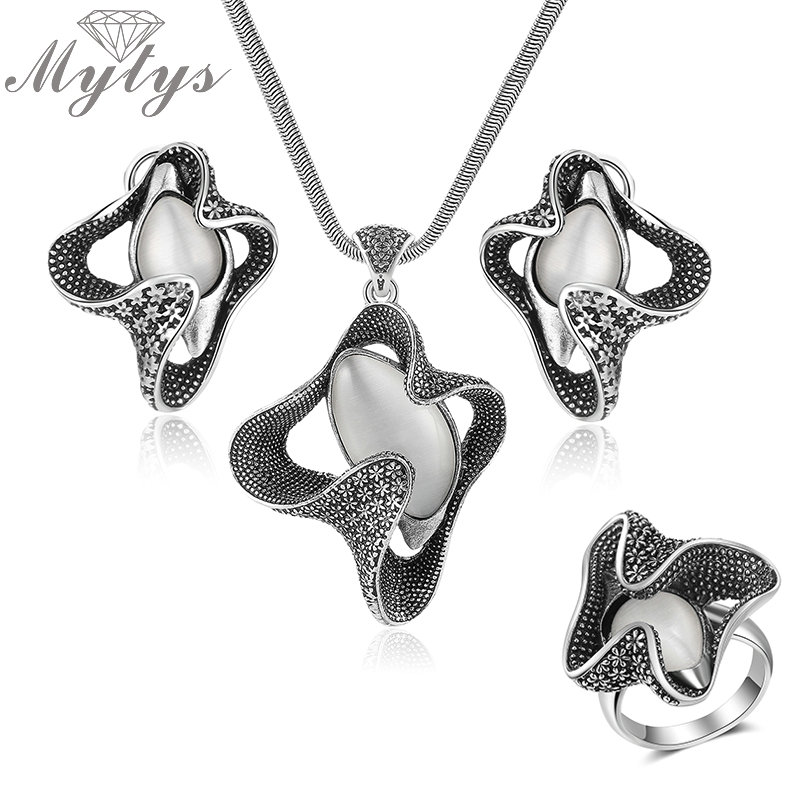 Mytys Retro Grey Black Vintage Jewelry Sets for Women Opal Pendant Flower Shape Necklace/Earrings/Ring sets CN350 R2017 vintage faux opal floral necklace jewelry for women