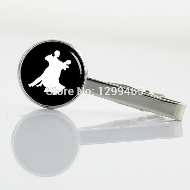 Unique Design Promotion dance profile Tie Clips salsa dancing white black photo tie tacks for tango Latin , Samba dance T 586