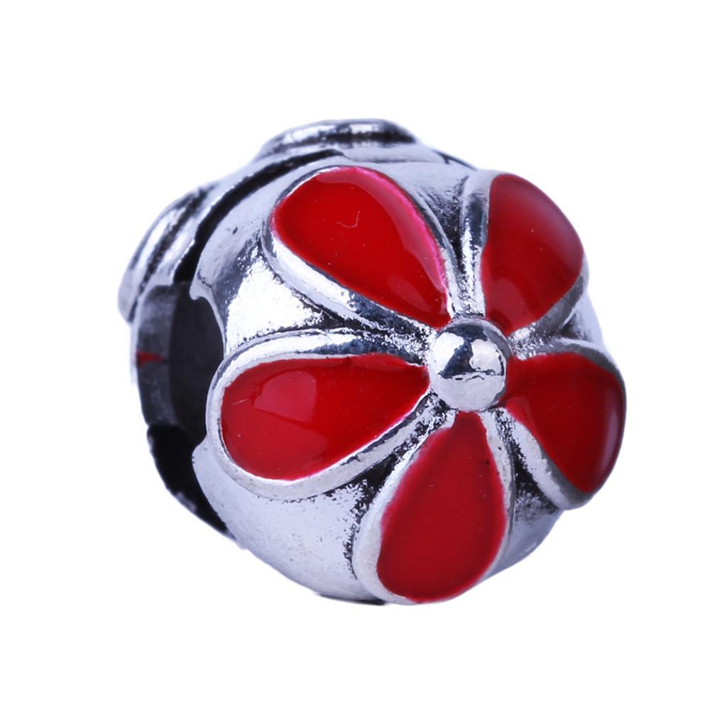 f25b9371c49 1 piece plata Clips Candados Cuentas encanto de aleación Europea rojo cinco  hojas flor Tapones Pandora Pulseras y brazaletes