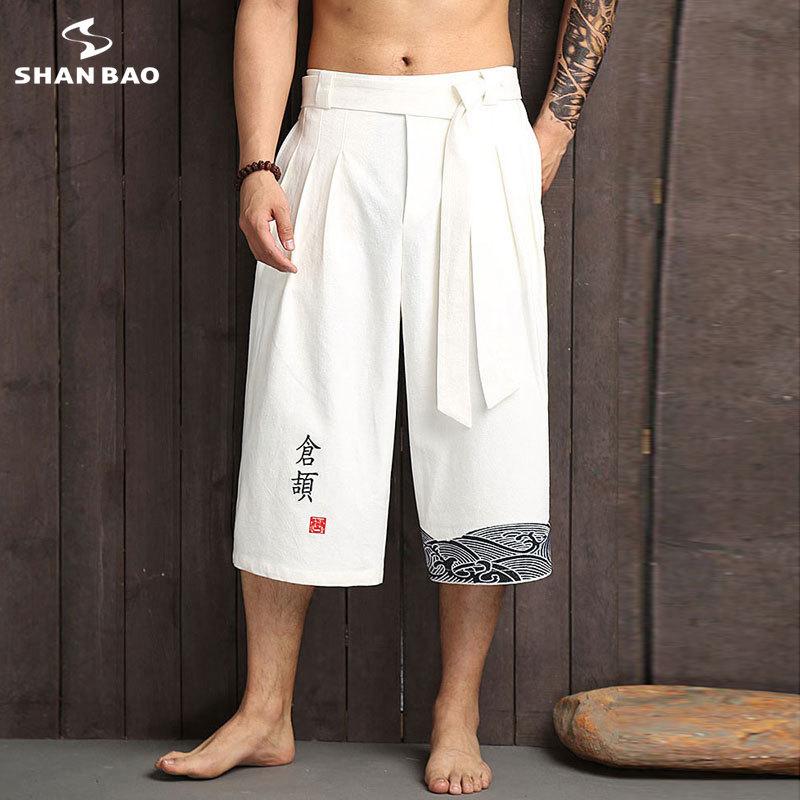 SHANBAO Brand Original Chinese Style Embroidery Cotton Fashion Loose Harem Pants 2019 Summer Men's Straight Wide Leg Pants K1617