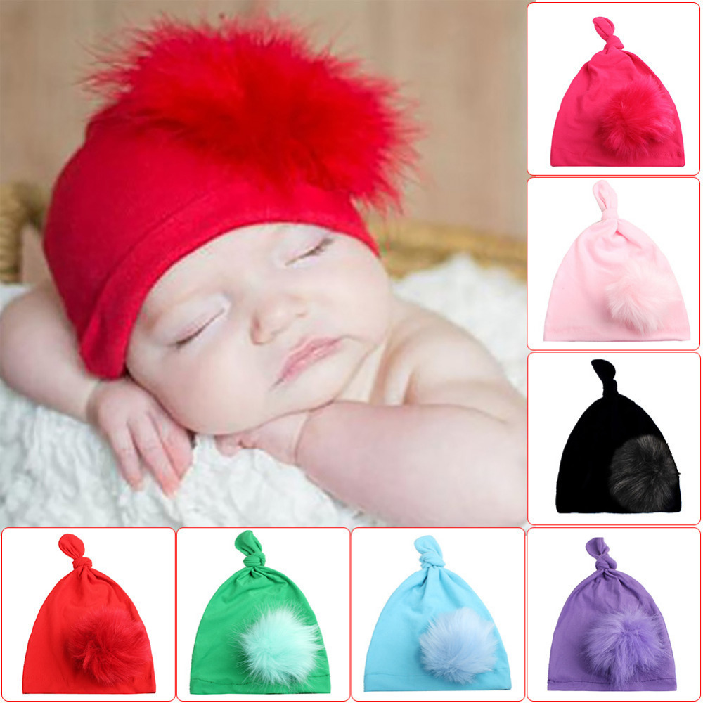 New warm Cap soft Children Fashionable Fur Pom Pom Beanie Knotted Flower Hat for Baby Girls 7 colors