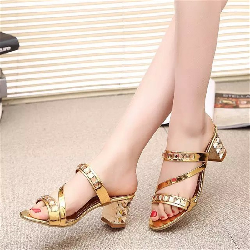 Women Summer Fashion Rhinestone Slipper Hollow Out Chunky High Heels Sandals Crystal Party Shoes Woman Square heel Flip Flops in Slippers from Shoes