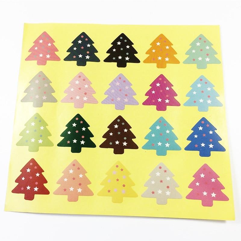 Купить с кэшбэком 100PCS NEW vintage Colourful Christmas Tree Theme Sealing sticker DIY Gifts posted/Baking Decoration label Multifunction