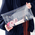 LJT brand new fashion women bag unisex PVC transparent envelop clutch purse rivet buckle clear bag purse bags