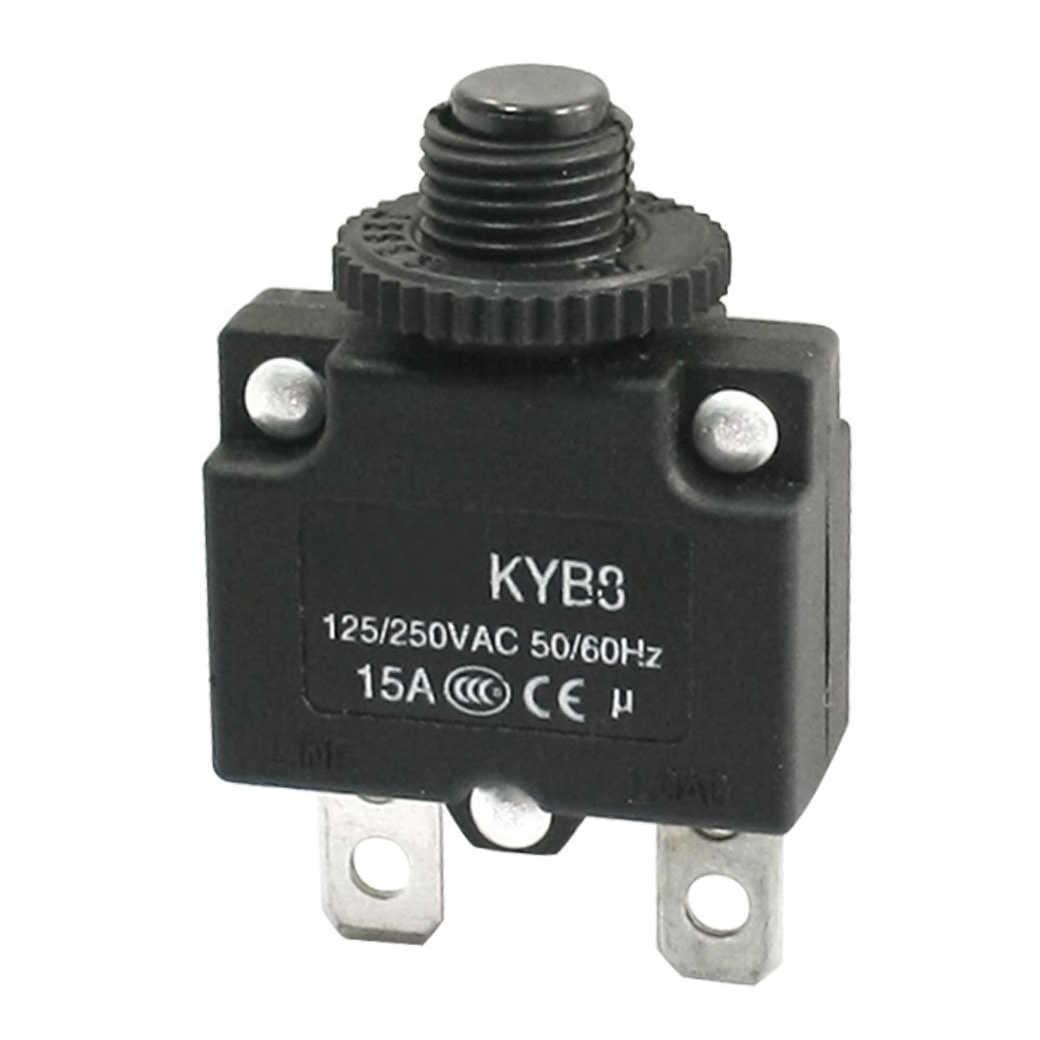 Ac125/250 v 15a botão de reset interruptor protetor de sobrecarga