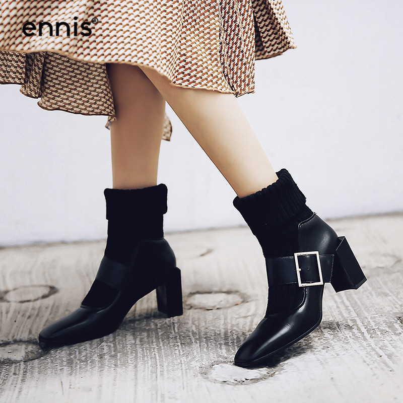 Véritable A8102 Beige À Chunky Boucle Automne Talons black Cheville 2018 Beige Tricoté Chaussures Hiver Hauts Noir Bottes Mode Cuir Ennis Femmes 4xt7U0wq