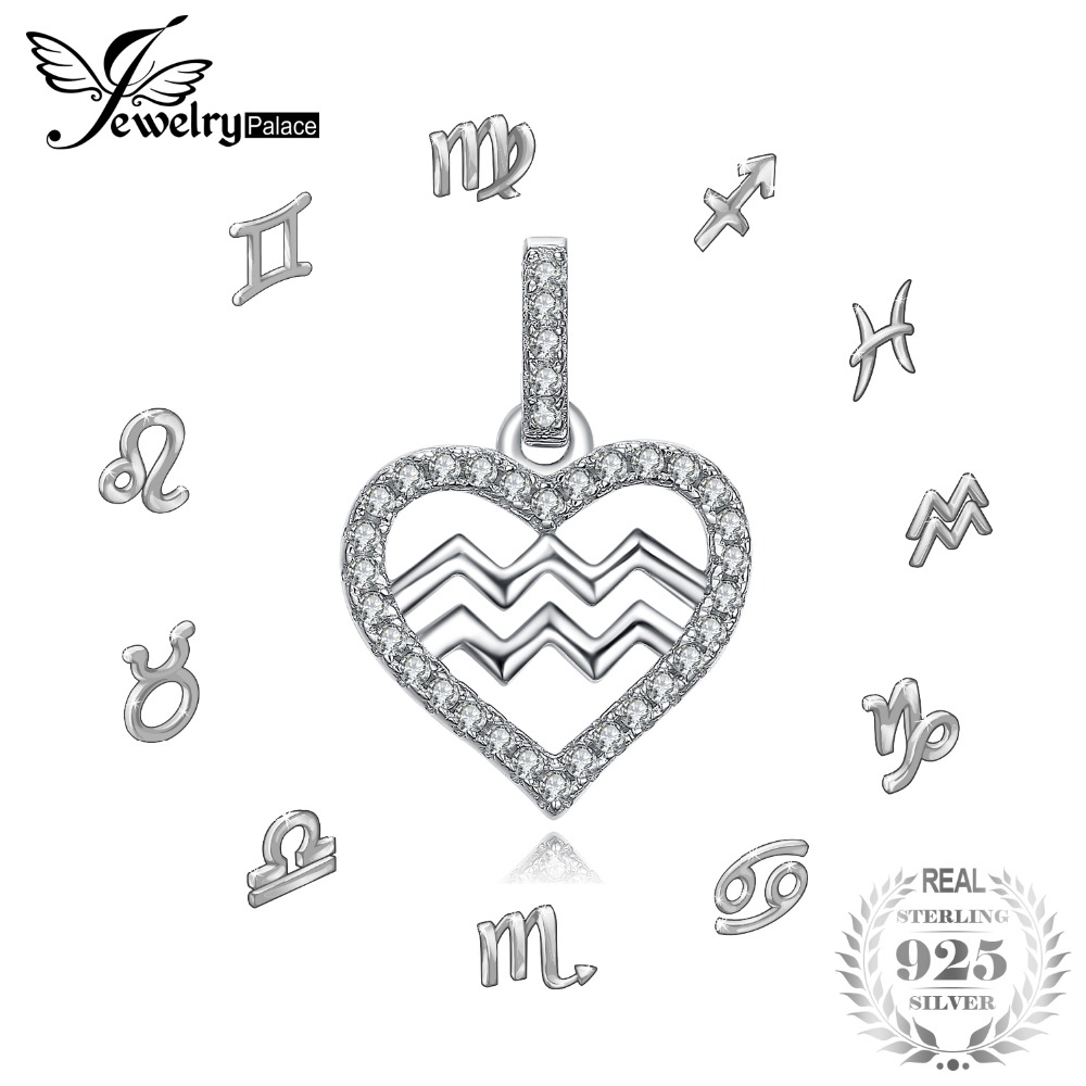 JewelryPalace Zodiac Constellation Heart Love Cubic Zirconia Necklace 925 Sterling Silver Gift Not Include A Chain necklace love imitation silver chain letter personality clavicle 925 sterling silver paved rainbow cubic zirconia love necklaces