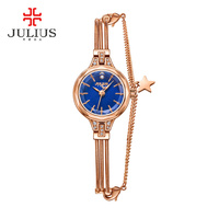 Julius Luxury Rose Gold Quartz Watches Women Diamond Bracelet Watches Ladies Dress Bangle Star Wrist Watch