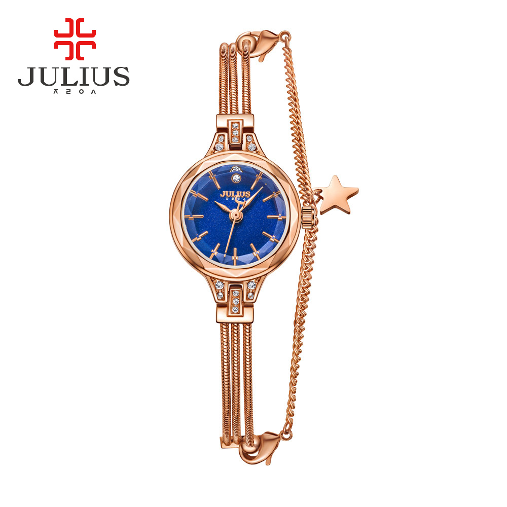 Julius Luxury Rose Gold Quartz Watches Women Diamond Bracelet Watches Ladies Dress Bangle Star Wrist Watch JA-918 relojes mujer new fashion famous bs brand full crytal women rose gold watch lady luxury diamond dress watch rhinestone bangle bracelet