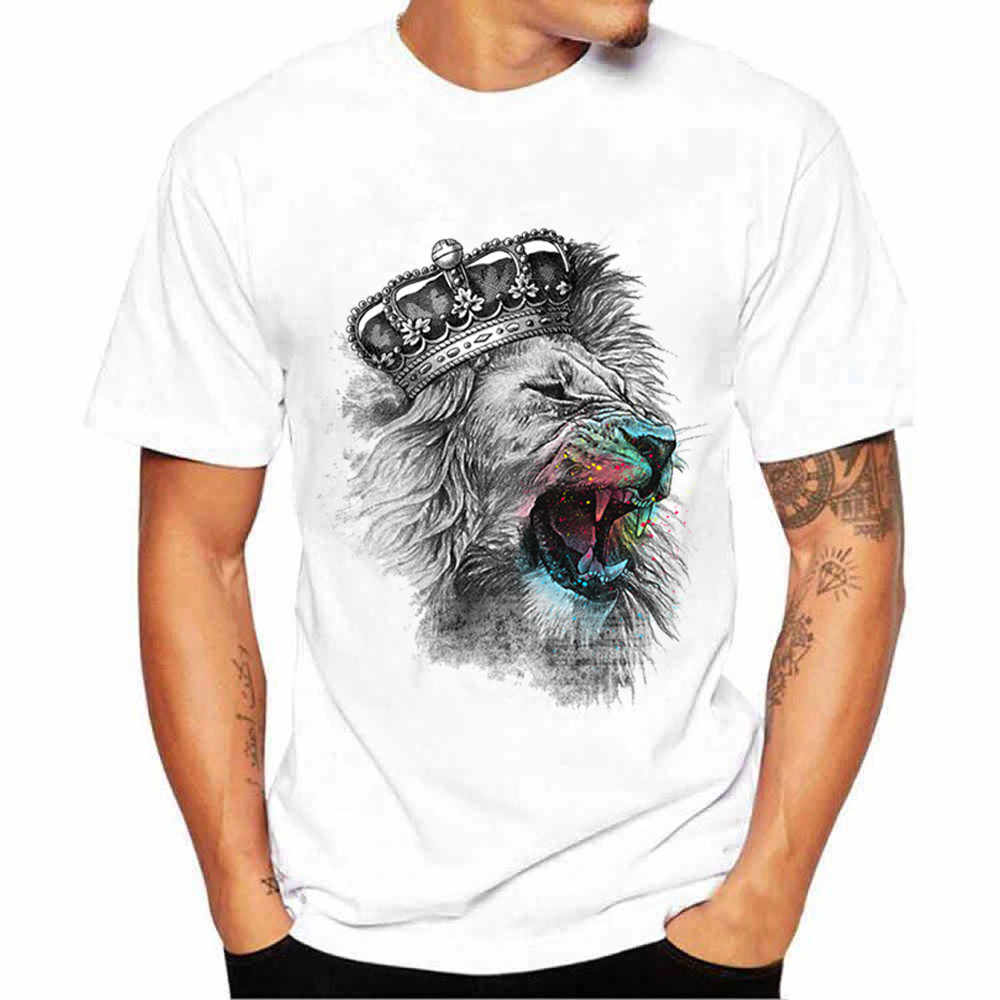 FREE OSTRICH New Fashion Simple T-Shirt White Short Sleeve Lion King Black And White Print T-Shirt Top T-Shirts Fashion Menswear