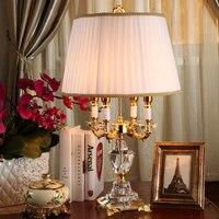 Европа кристалл Спальня настольная лампа белая ткань абажур Гостиная украшения Abajur Настольная лампа для Спальня Lamparas De Mesa
