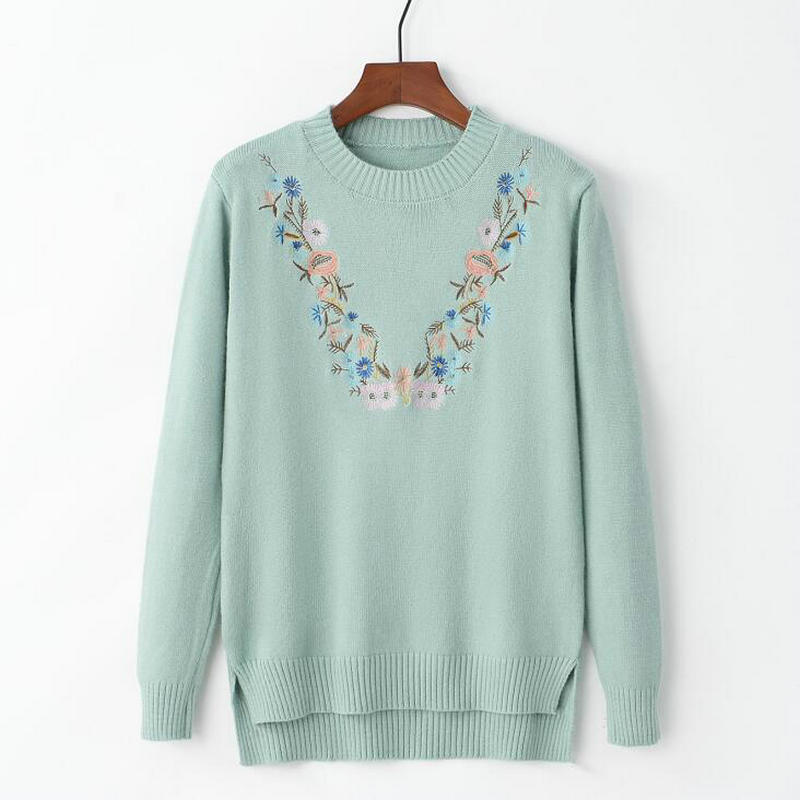 18 Pull Femme Women Floral Embroidery Sweater O-neck Long Sleeves Knit Jumper Jerseys 9 Colors Soft Pullover 7