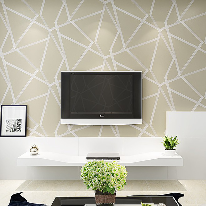 White,Teal,Beige,Gold Geometric Wallpaper Modern Glitter Metallic ...
