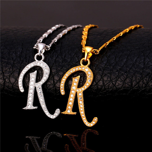 Online shop u7 capital initial r letter necklace pendant gold u7 capital initial r letter necklace pendant gold color cubic zirconia crystal alphabet jewelry for women fashion p711 thecheapjerseys Image collections