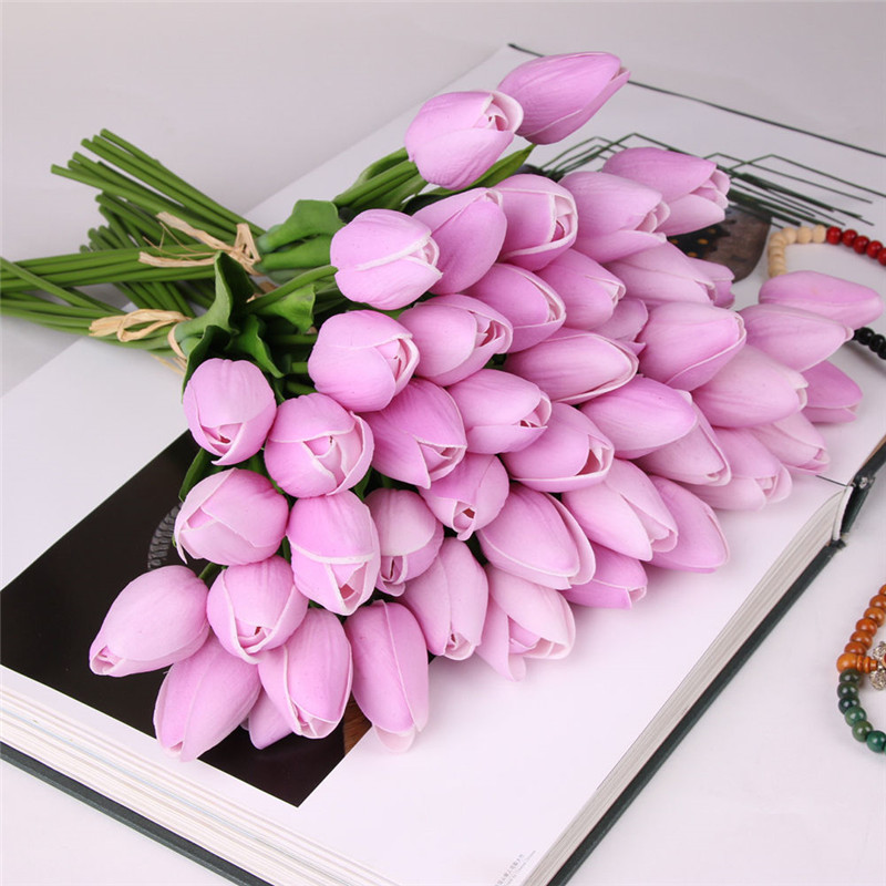 1PC Vivid PU Tulips Artificial Flowers Real Touch Mini Flowers Home Craft Supplies Party Decoration Birthday Decor Gift