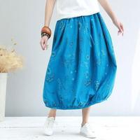 BUYKUD 2019 Summer Women High Waist Skirt Solid Color Strip Floral Print Skirt Women Causal Midi Skirts