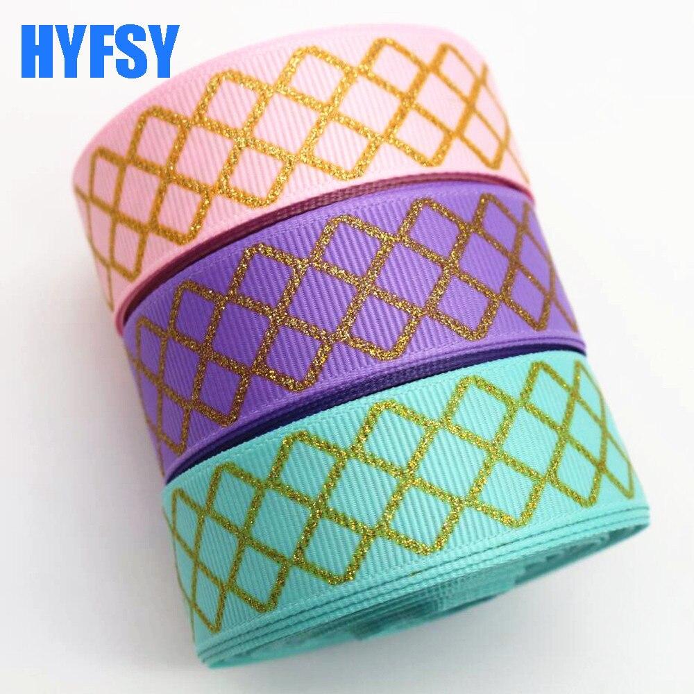 Hyfsy мм 10056 22 мм Золотая лента Алмазная DIY подарпосылка 10 ярдов ручной работы головные уборы корсажная лента