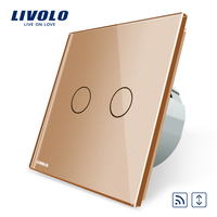 Livolo EU Standard Touch House Home Led Remote Curtains Switch VL C702WR 13 Golden Crystal Glass