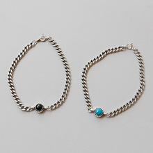 цена VINTAGE Genuine 100% S925 Sterling Silver Black Blue Stone Chain Women Bracelet Bangle silver Jewelry Girl's Christmas Gift онлайн в 2017 году