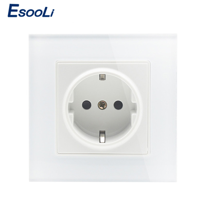 Esooli Wall Crystal Glass Panel Power Socket Plug Grounded, 16A EU Standard Electrical Outlet 86mm * 86mm