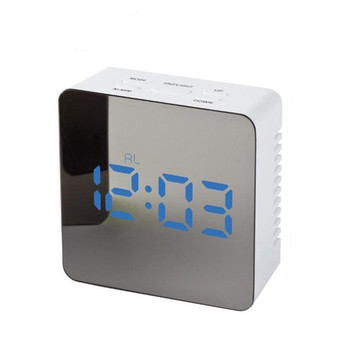 LED Mirror Alarm Digital Clock Snooze Display Time For Home Decore 1