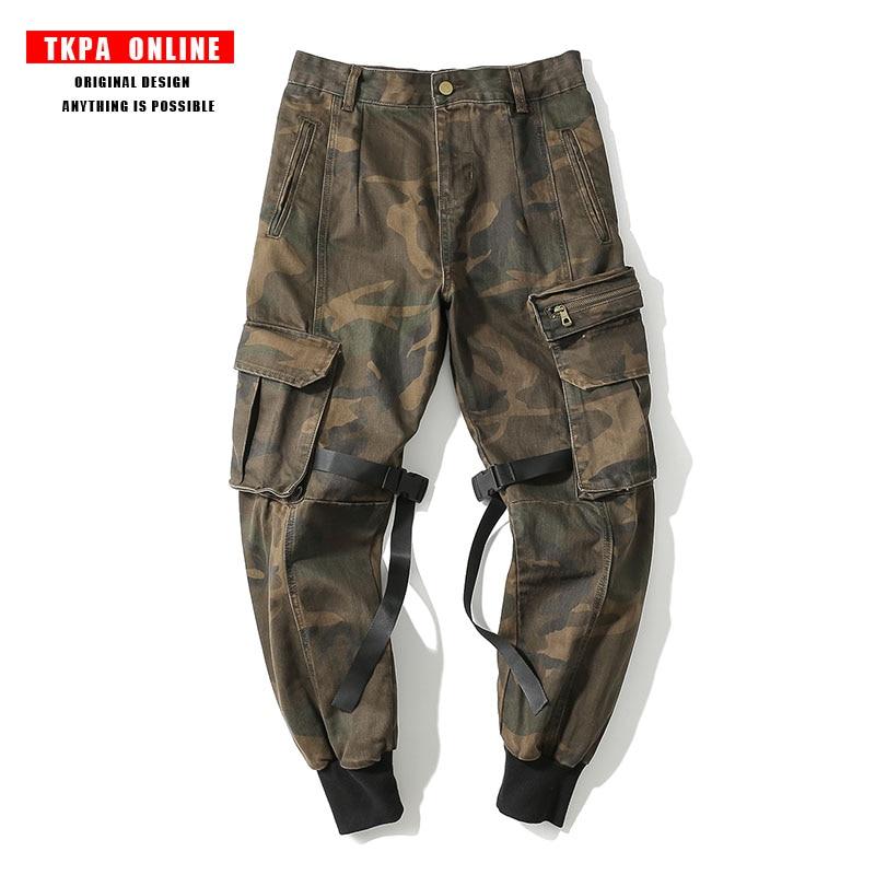 TKPA Mens Joggers Pants Military Style Casual Pants Camouflage Sweatpants Multi Pockets Cargo Pants Fashion Streetwear
