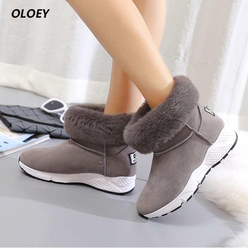 women ankle boots plush boots winter plus cashmere thickening warm cotton boots round head snow boots rubber Soles woman shoes цены онлайн