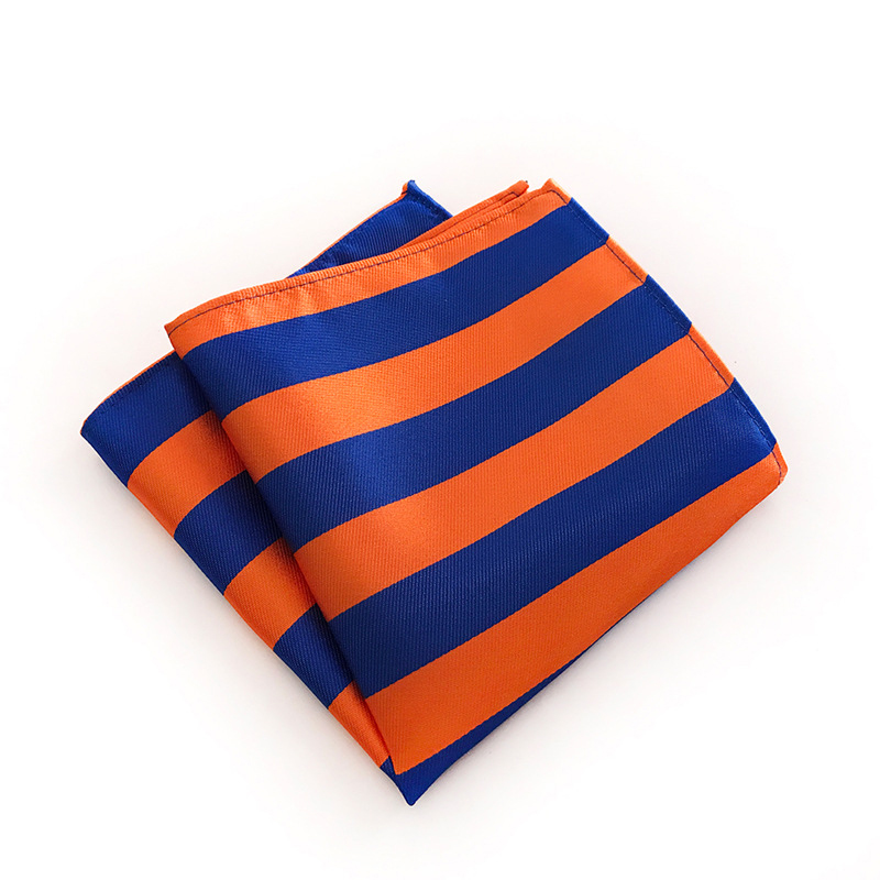 Business Pocket Square Handkerchiefs For Men Suit Striped Printed Polyester Hankies Hanky Wedding Party Colorful Pocket Towel
