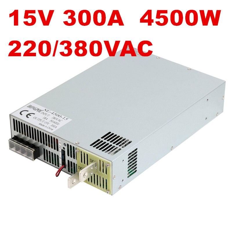 1 pcs 4500 w 300A 15 v alimentation 15 v 300A AC-DC Haute-Puissance PSU 0-5 v signal de commande analogique SE-4500-15 DC 15 v