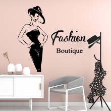 Cartoon Style Fashion boutique Wall Stickers Home Decor Girls Bedroom Sticker Living Room Children Diy Pvc Decoration