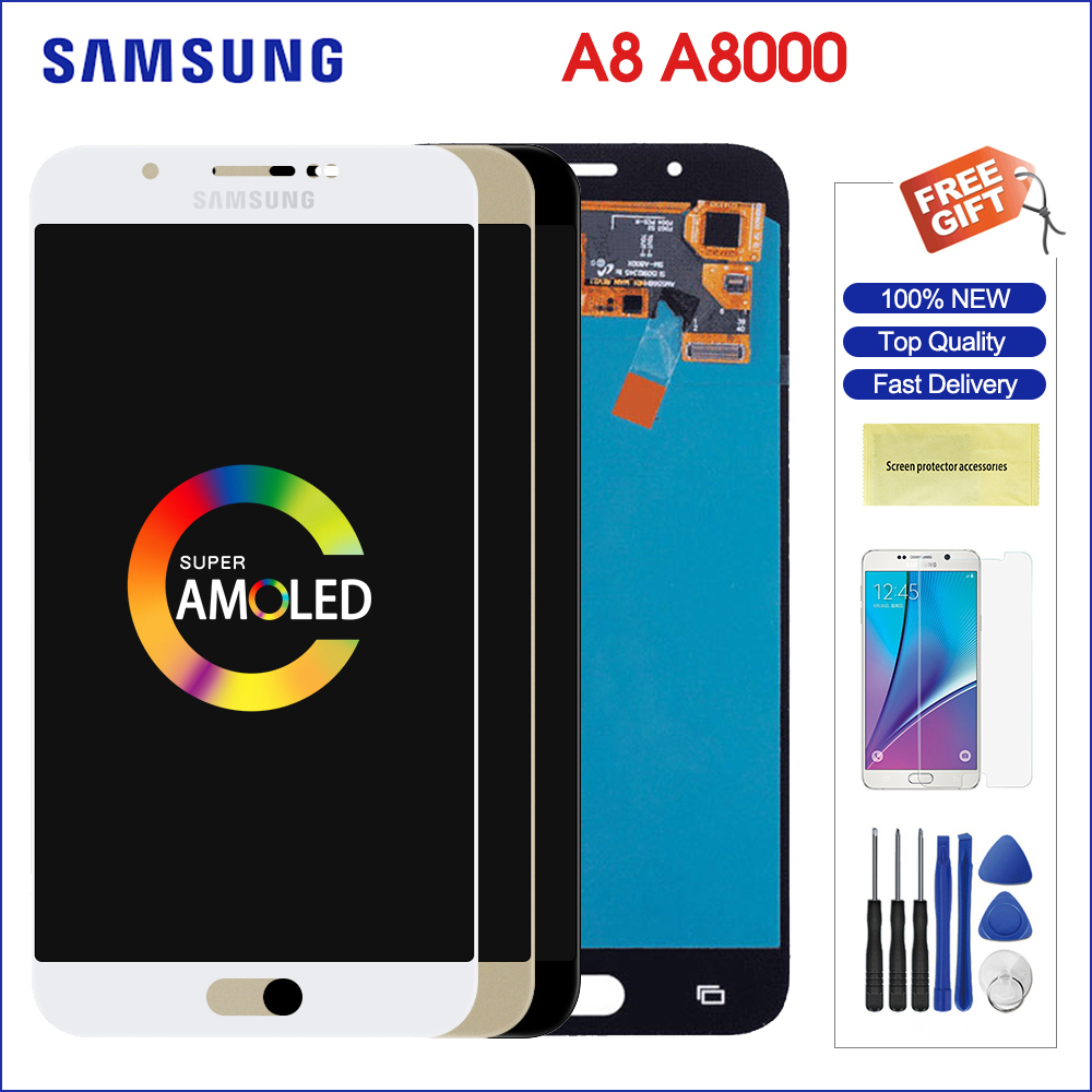 Samsung a800 lcd screen Galaxy A8 A800 A8000 A800F Super AMOLED Phone LCD Display Touch Digitizer Screen Assembly replacement