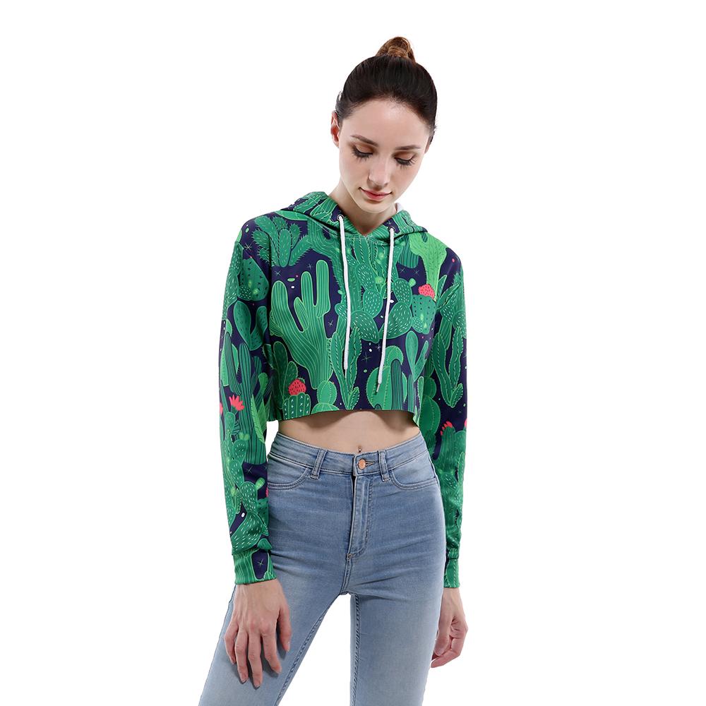 bd424f219 2019 Buteefull Crop Top Hoodie Women 3D Cactus Print Casual Harajuku ...