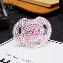 MIYOCAR bling pink Rhinestone pacifier with rose red crown high class unique for baby shower gift